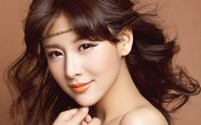 красивая, взгляд, глаза, волосы, девушка, азиатка