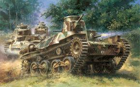 Japanese, war, easy, Art, tank