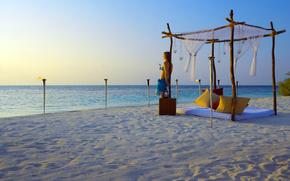 spiaggia, ragazza, tramonto