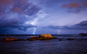 sea, stones, storm, approximation, lightning