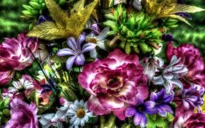 artificials, bouquet, HDR