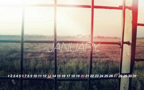 календарь, январь, решетка, свет
