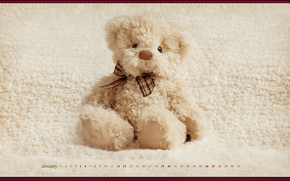 игрушка, календарь, медведь, январь