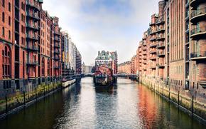 Amburgo, strada, canale, Germania, città, domestico