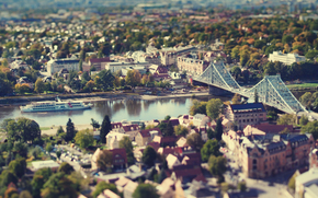 Германия, дома, река, город, мост, осень, Дрезден