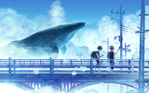 bridge, children, clouds, whale, wire, anime, boys, Jellyfish, sky, Pillars, Art