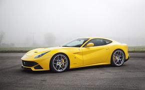 car, fog, Ferrari, yellow, asphalt