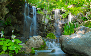 small river, waterfall, stones, plants, trees, nature