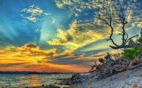 закат, море, берег, пейзаж