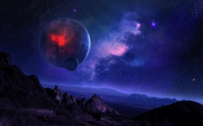 space, night, starry sky, Mountains