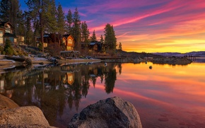 landscape, lake, home, stones, sunset, sky, clouds, Lake Tahoe, USA