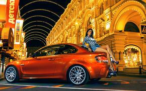 Orange, brunette, street, bmw