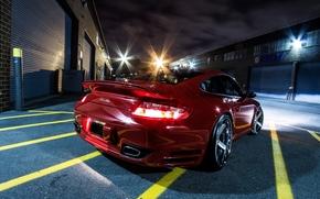 machine, red, Porsche, night, bumper, asphalt