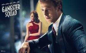 dress, tie, hunters gangsters, Ryan Gosling, Jerry Wouters, Grace Faraday, suit, Emma Stone