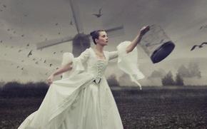птицы, мельница, клетки, платье, девушка, причёска