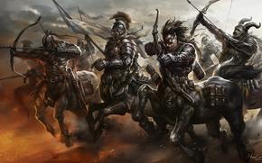 funcionamiento, cebollas, ejército, arma, arquero, movimiento, Centauros, bandera, Arte