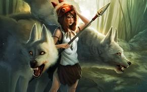 chica, bosque, Arte, lanza, máscara, Lobos, colgante, Princess Mononoke