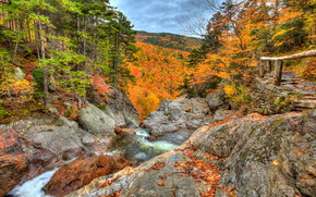 The Head of Glen Ellis Falls, White Mountain National Forest Park, New Hampshire, USA, HDR