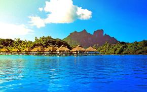 paesaggio, mare, bungalow