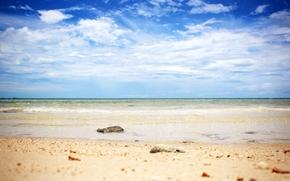 море, горизонт, небо, камни