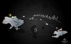 mappa, Kirghizistan, Kirghizistan, Ucraina, Manas Aeroporto, Boryspil Aeroporto, volo, sorridere, vacanza, Michael Mukhortov, jc-mike, studio di design buona fortuna