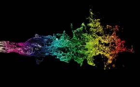 чёрный  фон, жидкость, разноцветная