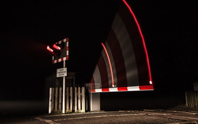 move, railroad, TRAFFIC LIGHT, night