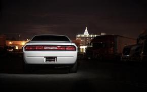 белый, Dodge, задок, ночной город, челленджер, додж, огни