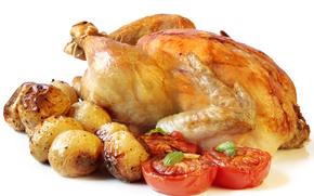 жареная, курица, картофель, помидоры