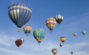 воздушные, шары, небо