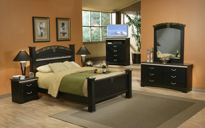 room, chest of drawers, table, bed, Pillow, pictures, window, TV, lights, fruit, stemware, wine