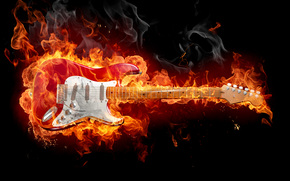 guitar, fire, background