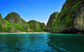побережье, скалы, лодки