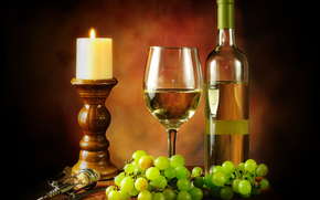 wine, grapes, candle