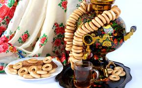 samovar, té, Bagels