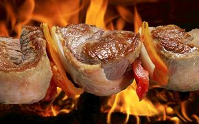 spiedini, carne di maiale, fuoco