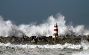 маяк, шторм, волнолом