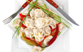 pelmeni, vegetables, food