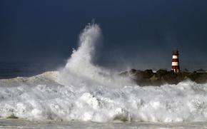 lighthouse, storm, groyne