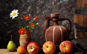 фрукты, посуда, цветы, натюрморт