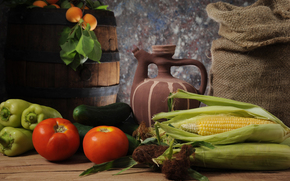 harvest, fruit, vegetables, crockery