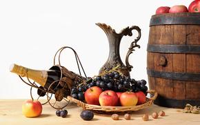 вино, фрукты, натюрмортт
