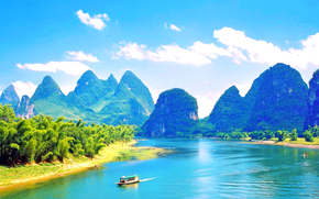 paesaggio, Cina, imbarcazione