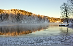 Frosty lake, Ulefoss, Telemark Fylke, norway