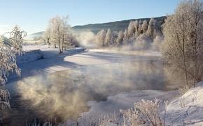 Frosty lake, Siljan, Telemark Fylke, norway