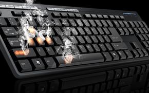 teclado, impresiones, fumar