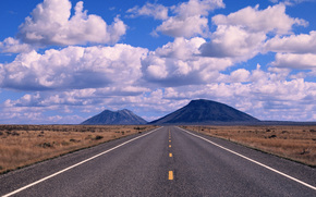 пустыня, дорога, панорама