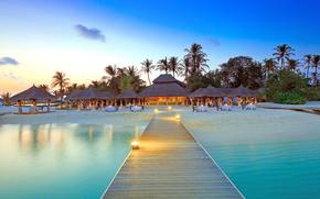 Malediwy, tropikach, plaża