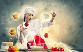 Creativity, girl, cook, cooking, vegetables, pepper, tomatoes, milk, flour