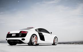 audi, R8, bianco, Audi, bianco, cielo, nuvole